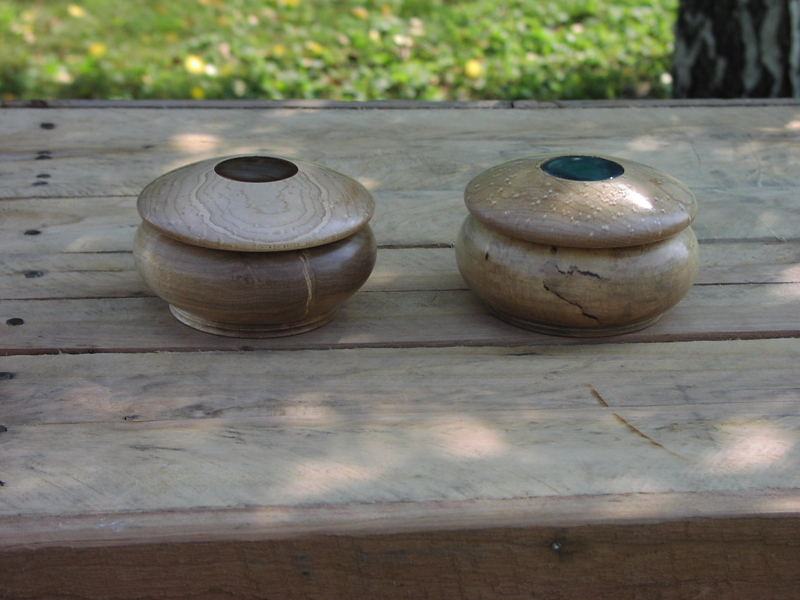 Spalted Maple Boxes with Agate inset in lid. Actual size=240 pixels wide